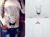 秋冬卫衣可爱兔子图案印花  圆领印花卫衣 速卖通新品爆款 已出货
