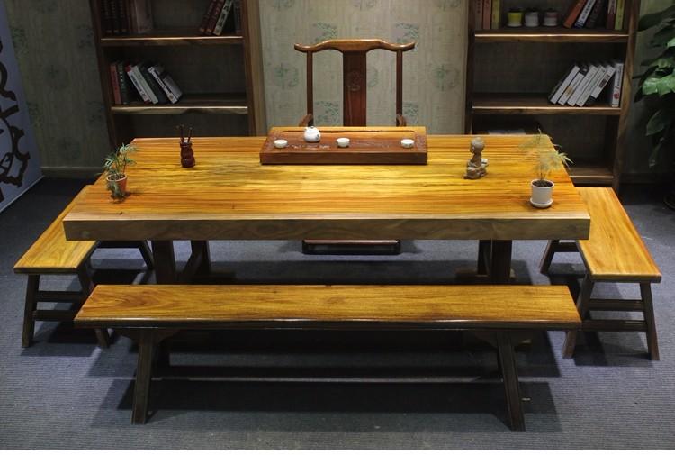 奥坎巴花实木大板桌原木红木茶桌老板桌胡桃木办公桌