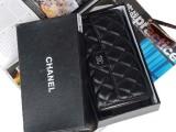 小香包菱格羊皮钱包黑色真皮三折韩版钱夹女士钱夹卡包现货