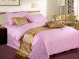 五星级酒店粉色布草宾馆床上用品四件套 全棉贡缎提花被套床单