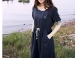 日本原单文艺青年范 蕾丝摆船锚刺绣收腰海军风连衣裙