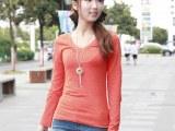 原单jet女士长袖纯棉打底衫女式V领T恤衫 代发 一件批发 t恤
