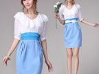 欧洲站2014夏装新款高档雪纺蓝白拼接OL气质V领连衣裙 一件代发