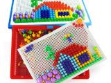 创意蘑菇钉丁男女孩智力组合插板拼图 宝宝儿童益智早教玩具礼物