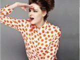 现货批发 欧美2014早春新款橘子印花雪纺长袖衬衫女式翻领开衫