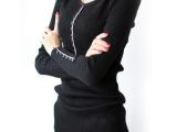 2014秋装韩版打底毛衣针织打底衫女长袖V领纽扣针织1028