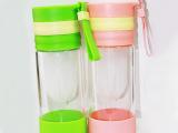 玻璃榨汁杯 创意便携玻璃手动榨汁水杯子神器 柠檬杯 一件代发