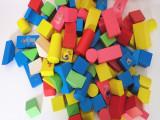 供应桶装100粒数字印花积木木制积木拼插玩具批发益智玩具早教