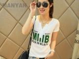 2014韩版新款T恤女 时尚字母烫钻V领显瘦 短袖t恤女