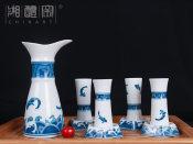 陶瓷酒具_供应株洲价格公道的步步高升青花陶瓷酒具