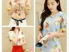 夏 新款 韩版修身短袖 百搭宽松显瘦泡泡袖印花雪纺衫