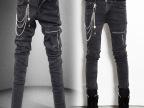2014秋季款男装牛仔裤男男士时尚修身长裤子个性拉链小脚裤韩版潮