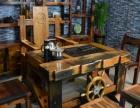 定西市老船木办公家具沙发茶几实木茶桌椅子茶台餐桌