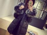 【艾佳依】秋冬女装新品批发A型超大狐狸毛毛领长款棉服女棉衣