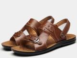 夏季清凉透气鞋男凉拖鞋沙滩鞋镂空真皮凉鞋男鞋子一件起批发