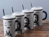 热销龙猫陶瓷杯卡通活动赠送品马克杯定制logo杯子