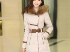 2014冬季新款韩版女装时尚羽绒棉服中长款修身大毛领长袖连帽外套