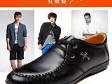 红蜻蜓男鞋正品头层牛皮男鞋系带真皮透气休闲鞋软面皮鞋男单鞋子