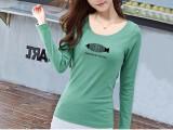 5.3元字母T恤女长袖 春季女装韩版上衣印花百搭女生打底衫