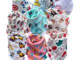 双面针织棉带扣三角巾 卡通棉双层可调节双面图案 活性印刷不褪色