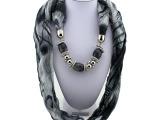 时尚多宝石贝壳项链围巾女 多色可选小清新丝滑舒适吊坠围巾批发