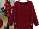 2013秋冬新款 欧美中长款 蝙蝠衫 加厚宽松套头 针织衫 毛衣