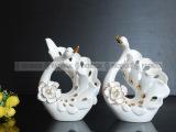 创意家居工艺陶瓷情侣天鹅摆件 欧式客厅装饰工艺品结婚婚庆礼品