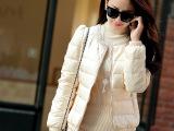 拉夏贝尔同款 专柜品质珍珠圆领羽绒服女短款韩版修身3000146