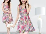 实拍2014夏季新款韩版连衣裙 时尚显瘦雪纺碎花无袖背裙 812