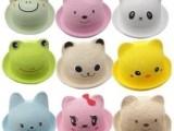 2014韩版春夏款儿童草帽批发 小熊盆帽儿童造型帽儿童草帽 遮阳