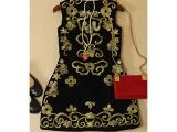 2014秋装新款欧美高端复古民族金线刺绣无袖背心裙修身女装连衣裙