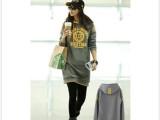 2013新品韩版大码女装带帽字母套头百搭加绒长款卫衣