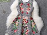 小雅家2014早秋新款花朵提花修身显瘦无袖连衣裙大摆裙高品质