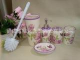 专业厂家生产陶瓷卫浴四件套 烤花卫生洁具 肥皂碟 乳液瓶 牙杯