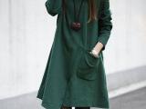 2014秋装新款大码女装宽松长袖不规则修身显瘦中长款连衣裙批发
