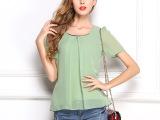 2014夏季新款雪纺衫短袖韩版外贸大码纯色常规袖圆领雪纺衫打底衫
