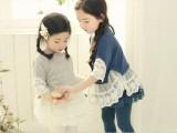 2014夏  韩版女童蕾丝花边中袖 拼接裙衫童装