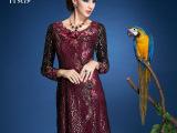 古贝莎 高档中年女装品牌 手工刺绣花秋装大码显瘦长袖连衣裙