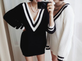 韩国东大门代购 唯美个性海军风深V领针织衫套头毛衣 女