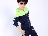 2015春季韩版中大男童套装男童纯色小飞机韩版运动两件套套装潮范