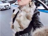 欧洲站 2014秋冬新款PU皮中长款真兔毛领加绒保暖皮衣外套