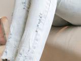 2014新春特款 韩版潮磨破修身显瘦浅色牛仔铅笔裤小脚裤女 九分