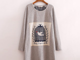 日式女式绒衫卫衣冬季新款 纯色贴布鸟笼单面绒套头宽松卫衣批发