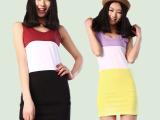 夏季新款新款纯棉双U三色拼接中长款吊带衫背心裙女撞色裙批发