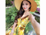 2015夏季新款高腰向日葵印花V领真丝度假沙滩吊带连衣裙长裙批发