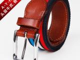 可批发厂家直销2014年新款原创 真皮腰带 针扣帆布特价男士皮带