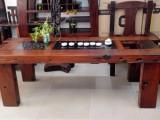 中式老船木茶桌椅组合方形客厅实木家具