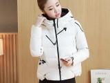冬季新款女装纯色连帽棉衣 中长款显瘦直筒棉服外套