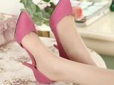韩版时尚小香风糖果色尖头高跟单鞋浅口女鞋4-12