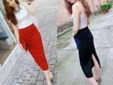 2014春装新款高腰全棉开叉包臀超显瘦中长半身裙女装